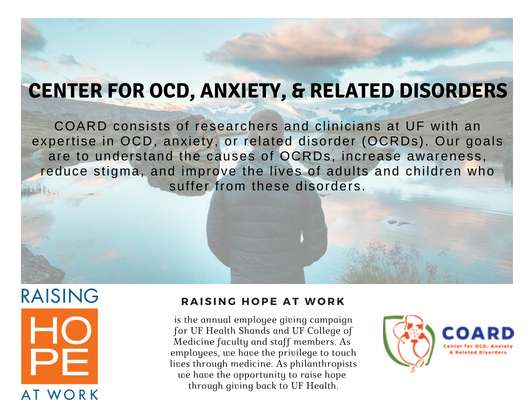 Front side of Raising Hope at Work Flyer for COARD. Person looking out over water.