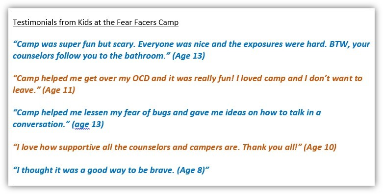 Fear Facers Camp Testimonials