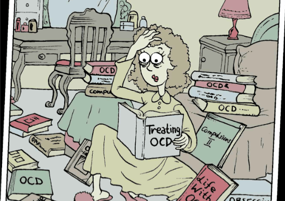 OCD comic person sitting on the floor reading OCD books