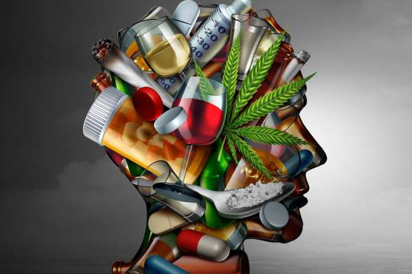 Drug addiction concept and substance dependence as a junkie symbol or addict health problem with cocaine hroin cannabis alcohol and prescription pills with 3D illustration elements.